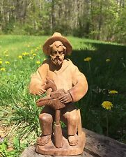 Beautiful 1930's PETAR SMAJIC Naive Primitive Shoemaker Man WOOD CARVING 8""