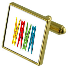 Washing Laundry Clothes Peg Gold-Tone Cufflinks Crystal Tie Clip Gift Set