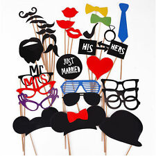 31Pcs DIY Mask Photo Booth Props On A Stick Wedding Party Happy Birthday Decor