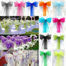 10/50/100 Organza Sashes Chair Cover Bow Sash Wider Fuller BOWS Wedding Party