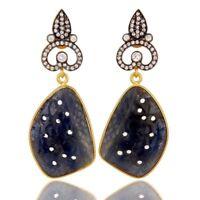 Blue Sapphire Gemstone 925 Sterling Silver Drop Earrings Wedding Jewelry