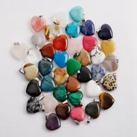 Wholesale Natural heart-shaped Reiki Chakra Pendant Beads Necklaces 20MM