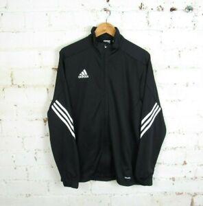 Men's Black Adidas CLIMALITE Black Full Zip Track Top Jacket Size Large