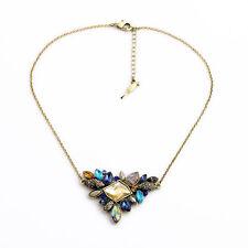 Antique-gold Colorful Irregular Stone Triangle Pendant Women Bib Short Necklace