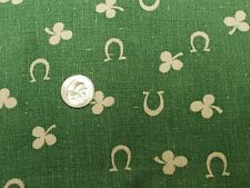 BEST Vintage Feedsack Quilt Fabric 40s Horseshoes & Clover GREEN Flour Sack