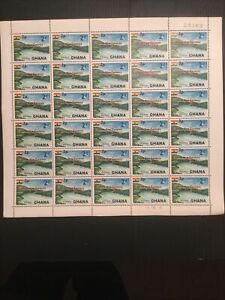 Ghana 1967 Sg 382 As Issued Complete Sheet Of Stamps. Volta River Plate 1C