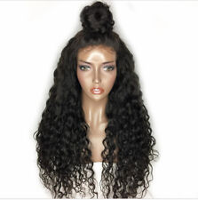 "US 18"" Deep Wave Frontal Lace Wigw 180% Density Pre Plucked Wavy Wig+Baby Hair"