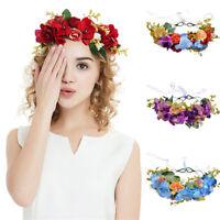 Adjustable Women's Flower Crown Wedding Hair Wreath Headband Prop Garland Ribbon