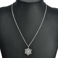 Christmas Crystal Snowflake Silver Charm Pendant Chain Necklace Women's Gift