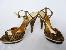 River Island  animal gold strappy peep toe platform high heel sandals size 6
