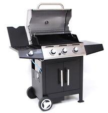 Barbecue Gas Golosone 3 Bruciatori + Pietra Lavica Carne BBQ Ruote e Dispensa