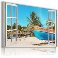 BOAT BEACH PALMS 3D Window View Canvas Wall Art Picture Large  W134 MATAGA .