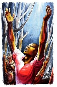 Black History 1947 NEGRO PRAYER PRAYING MEN and WOMEN Matted RELIGIOUS Print