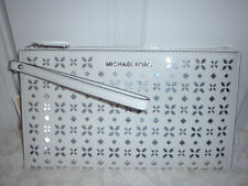 Michael Kors Jet Set Large Floral Leather Zip Clutch Wristlet White Silver