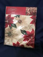 """New St. Nicholas Square 60"""" X  84"""" Oblong Red Poinsettia Tablecloth Polyester"""