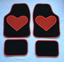 BLACK CAR MATS WITH RED HEART HEEL PAD FOR PEUGEOT 106 107 108 206 206CC 207 208