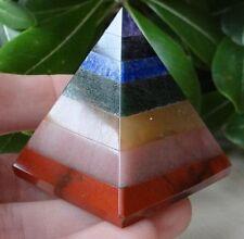 7 Chakras Stone Crystal Pyramid (Reiki. Healing, Meditation, Seven) 30 - 40 mm