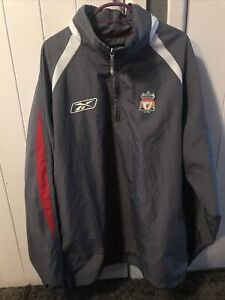 Reebok Liverpool Football Pullover Jacket Drill Top Grey Large L Hooded