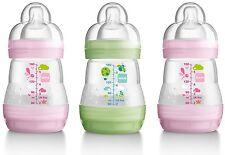 3 Pack MAM Self-Sterilising Baby Girl Feeding Anti Colic Milk Bottles 160ml Pink