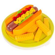 Wooden Hotdog & Chips/Fries Play-Food Pretend Childrens/Kids Wood Kitchen Set