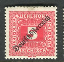 AUSTRIA;  1919 DEUTSCHOSTERREICH early Postage Due issue Mint hinged 5h.