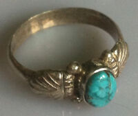 Sterling Silver Traditional Asian Vintage Style Turquoise Stone Ring Size O Gift