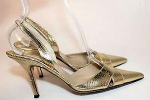 MICHAEL KORS Women's 7.5 M Gold Leather Snakeskin Pattern Slingback Heels Italy