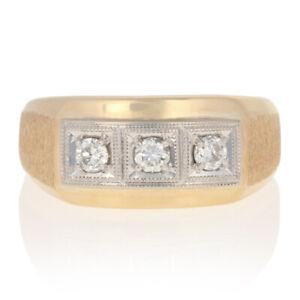 45ctw Round Brilliant Diamond Ring 14k Yellow Gold Men's Three-Stone