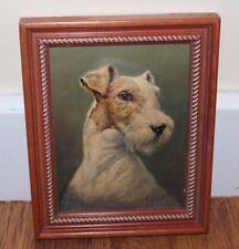 Estate - Vintage Signed J.Biust - Framed 2D Print of a Wire Hair Terrier Dog -