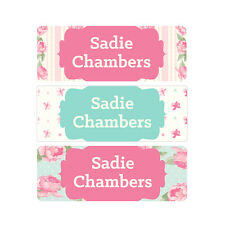 School Name Labels, Waterproof, Daycare Labels, Camp, Pink, Mint, Flowers