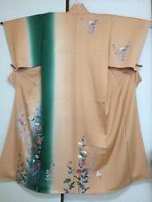 Vintage Japanese Silk Kimono Dress Robe Homongi, Butterfly Ume, Deep Peach K1025