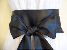 "3.5""X60"" BLACK SATIN SASH BOW BELT UPDATE PARTY PROM DRESS SKIRT BRIDAL SELF TIE"