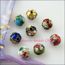 16Pcs Vintage Mixed Enamel Cloisonne Round Accessories Spacer Beads Charms 8mm
