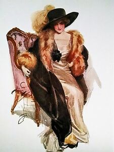 Victorian Lady Print long black coat with fur matching black hat