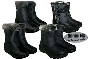 LADIES THERMO-TEX LINING WINTER WARM BLACK BOOTS SIZES 4-8