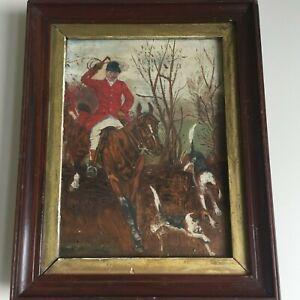 Antique Vintage Original Oil on Canvas Painting Hunting Scene Horse Framed c1900