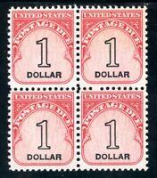 USAstamps Unused VF US $1 Postage Due Block Scott J100 OG MNH