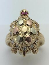 14K Tri Color Gold Sea Turtle with Ruby Eyes & Cubic Zirconia Size 6 Ring