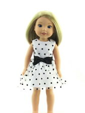 "Black and White Polka Dot Dress Fits Wellie Wishers 14.5"" American Girl Clothes"