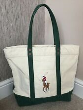 ed159600cb Ralph Lauren Embroidered Polo Pony Tote Bag Cream Green Canvas Genuine