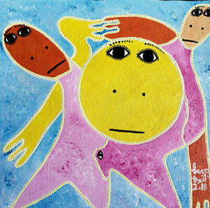 "ORIGINAL HAITIAN ART PAINTING FAMOUS LEVOY EXIL ""FIGURES"" FOLKART 12""x12"" HAITI"