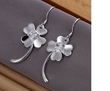 Women's Silver Filled Inlaid Shiny Cubic Zirconia Clover Leaf Design Earrings UK