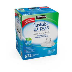 Kirkland Signature Flushable Wipes 632 Soft Wet Wipes Cleaning Bulk Toilet