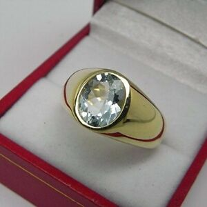 4Ct Oval Cut Aquamarine Simulant Bezel Set Solitaire Ring Yellow Gold Fns Silver