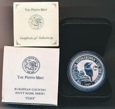 1997 Australia Kookaburra 1 oz Silver Italy Privy Mark BU Specimen COA #23 //5000