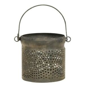 Primitive Candle Holder Small Candle Candles Antique Gray Punched Tin Lantern