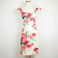 Ann Taylor Size 10 - Pink & green floral sleeveless stretch dress knee length