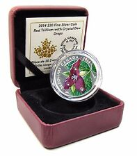 2014 Proof $20 Silver 'Red trillium' Coin w/ Swarovski Crystal Dewdrops