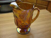 VINTAGE INDIANA GLASS AMBER IRIDESCENT CARNIVAL HARVEST PRINCESS GRAPE PITCHER