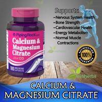 Calcium Magnesium Citrate D3 Muscle Joint Bone Energy Heart Supplement 180 Caps